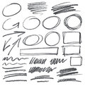 Vector pencil scribbles design elements color can be changed by one click Royalty Free Stock Photo