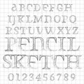 Vector pencil sketched font abstract illustration of a Stock Photo
