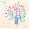 Vector pencil tree infographic elements Royalty Free Stock Photo