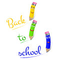 Vector pencils characters with text back to school. Royalty Free Stock Photo