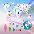 Vector people on paper world map social media connection symbols infographics Royalty Free Stock Photography