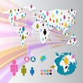 Vector people on paper world map social media connection symbols infographics Stock Photos