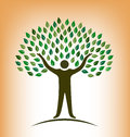 Vector people tree with body and leaves Stock Photography
