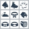 Vector pet icons set cat and dog pawprint mouse and collar kennel bowls cage Stock Photos