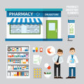 Vector pharmacy drugstore set design shop store package t shirt cap uniform and front display layout of corporate Stock Photo