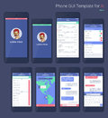 Vector Phone GUI Template. Wireframe UI Kit. Royalty Free Stock Photo