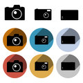 Vector photo camera icon set of clean flat retro icons Stock Images