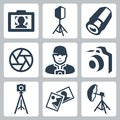 Vector photographer and photo equipment icons set Stock Images