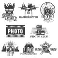 Vector photography theme set in vintage style. Monochrome logo, banner, badges or emblems for photo studio. Isolated