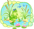 Vector picture with a dreaming frog, butterflies and lotus