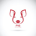 Vector of a pig head on white background.