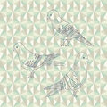 Vector pigeon birds set of three hand drawn pigeons cartoon Royalty Free Stock Photography