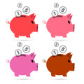 Vector piggy bank set isolated on white background Stock Photo