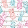 Vector pineapple on grunge stripes summer colorful tropical seamless pattern background. Great as a textile print, party