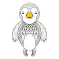 Vector pinguin for adult coloring page. Hand drawn cute pinguin