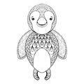 Vector pinguin for adult coloring page. Hand drawn funny pinguin