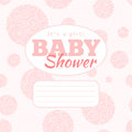 Vector pink baby shower party invitation baby girl with doodled swirles and empty space for text background is seamless pattern Stock Image