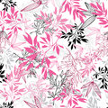 Vector pink black tropical leaves summer seamless pattern with tropical magenta plants and leaves on white background Royalty Free Stock Photo