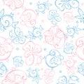 Vector Pink Blue Pastel Floral...