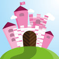 Vector pink castle Royalty Free Stock Photo