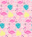 Vector pink flamingo, monstera seamless pattern. Summer tropical background