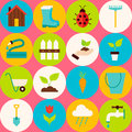 Vector Pink Flat Gardening Tools Seamless Pattern with Circles Royalty Free Stock Photo