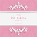 Vector Pink  Floral 3d Christmas and Invitation Cards Background Royalty Free Stock Photo