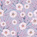 Vector Pink Flowers Blue Background Cherry Blossom Meadows Seamless Pattern