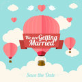 Vector pink hotair ballons fly with clouds illustration hot air wedding card flat design Stock Images