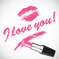 Vector pink lipstick with space for your text Royalty Free Stock Photo