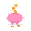Vector pink money box with bitcoin coin. Cryptocurrency concept.
