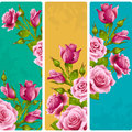 Vector pink Rose frames. Set of floral vertical banners Royalty Free Stock Photo