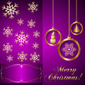 Vector pink violet christmas invitation card with golden balls ans snowflakes Stock Photos