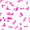 Vector pink Watercolour hearts with love seamless pattern. Romantic background