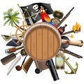 Vector Pirate Concept with Barrel Royalty Free Stock Photo