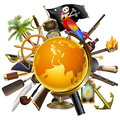 Vector Pirate Globe Concept Royalty Free Stock Photo