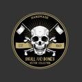 Vector pirate skull label design Stock Images
