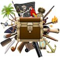 Vector Pirate Treasure Hunt Concept Royalty Free Stock Photo