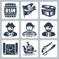 Vector pirates piracy icons set Royalty Free Stock Image