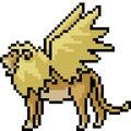 Vector pixel art fantasy lion