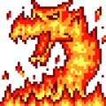 Vector pixel art fire dragon