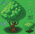 Vector Pixel Art Forest Icon Set Royalty Free Stock Photo