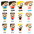 Vector pixel art kids character design for old school games applications or anything related to bit games Royalty Free Stock Photos