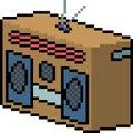 Vector pixel art radio