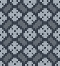 Vector pixel herringbone and rhombuses seamless pa Royalty Free Stock Photos