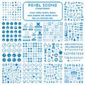 Vector pixel icons isolated, collection of 8bit graphic elements Royalty Free Stock Photo