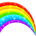 Vector plastic bright shining rainbow with magic lights Royalty Free Stock Photos