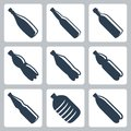 Vector plastic and glass bottles icons set Royalty Free Stock Photo