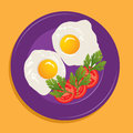 Vector plate with fried eggs Stock Images