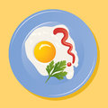 Vector plate with fried eggs Stock Photo